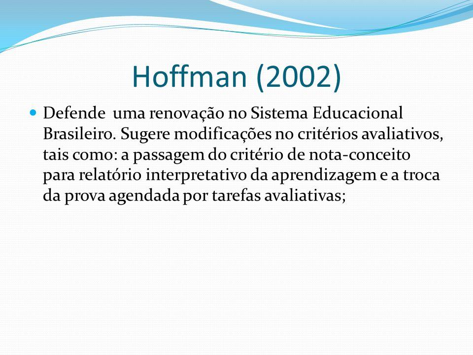 Hoffman (2002) Defende uma renovação no Sistema Educacional Brasileiro. Sugere modificações no critérios avaliativos, tais como: a passagem do critéri