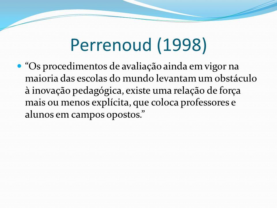 Perrenoud (1998) Os procedimentos de avaliação ainda em vigor na maioria das escolas do mundo levantam um obstáculo à inovação pedagógica, existe uma