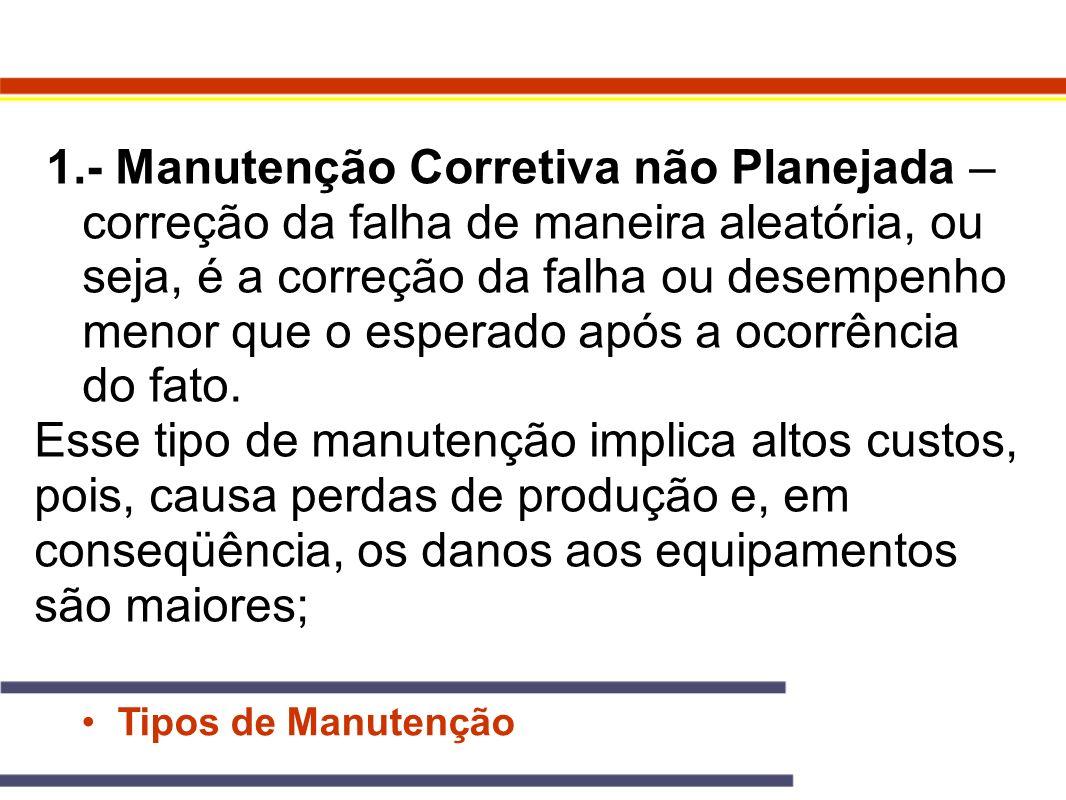 Tipos de Manutenção 1.- Manutenção Corretiva não Planejada – correção da falha de maneira aleatória, ou seja, é a correção da falha ou desempenho meno