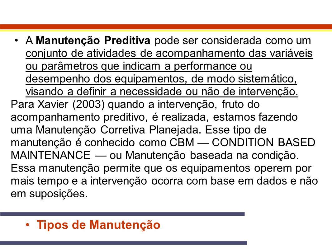 Tipos de Manutenção A Manutenção Preditiva pode ser considerada como um conjunto de atividades de acompanhamento das variáveis ou parâmetros que indic
