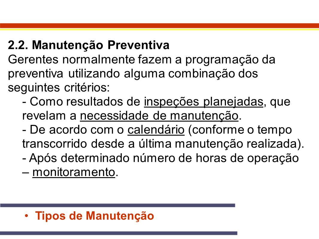 Tipos de Manutenção 2.2. Manutenção Preventiva Gerentes normalmente fazem a programação da preventiva utilizando alguma combinação dos seguintes crité