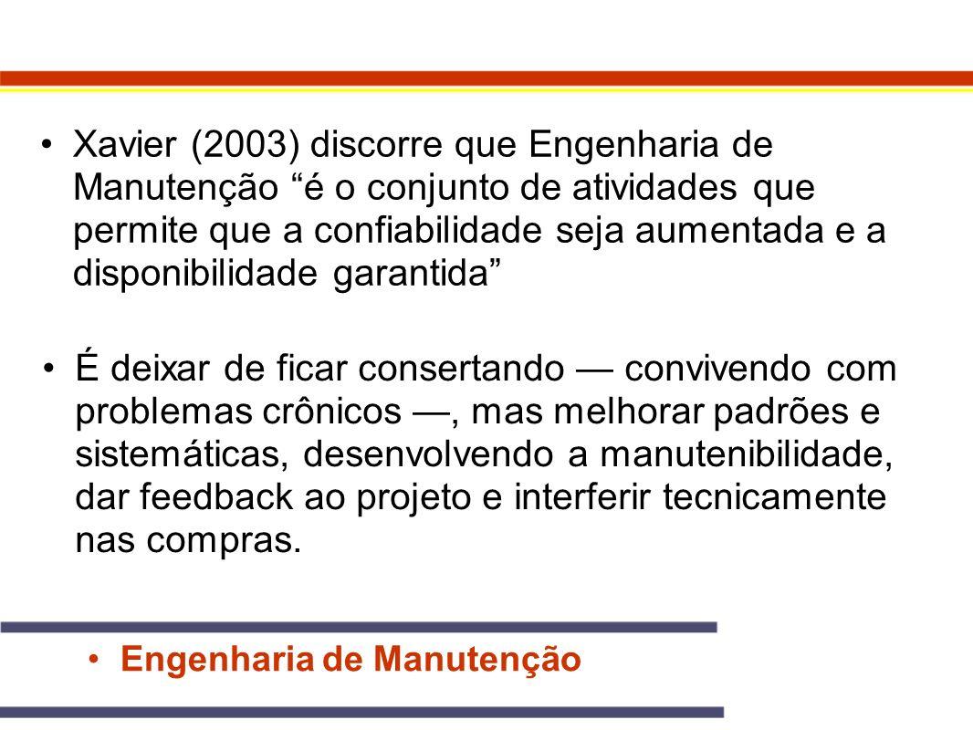 Engenharia de Manutenção Xavier (2003) discorre que Engenharia de Manutenção é o conjunto de atividades que permite que a confiabilidade seja aumentad