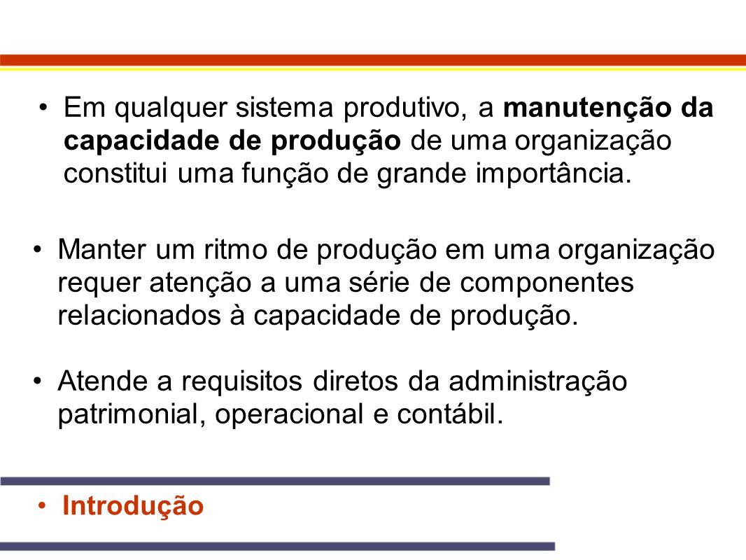 Em qualquer sistema produtivo, a manutenção da capacidade de produção de uma organização constitui uma função de grande importância. Introdução Manter