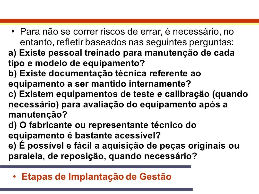 Etapas de Implantação de Gestão Para não se correr riscos de errar, é necessário, no entanto, refletir baseados nas seguintes perguntas: a) Existe pes
