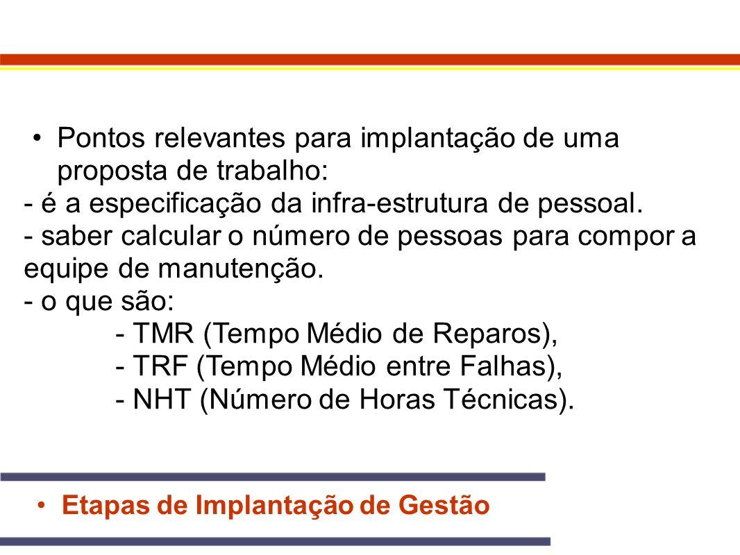 Etapas de Implantação de Gestão Pontos relevantes para implantação de uma proposta de trabalho: - é a especificação da infra-estrutura de pessoal. - s
