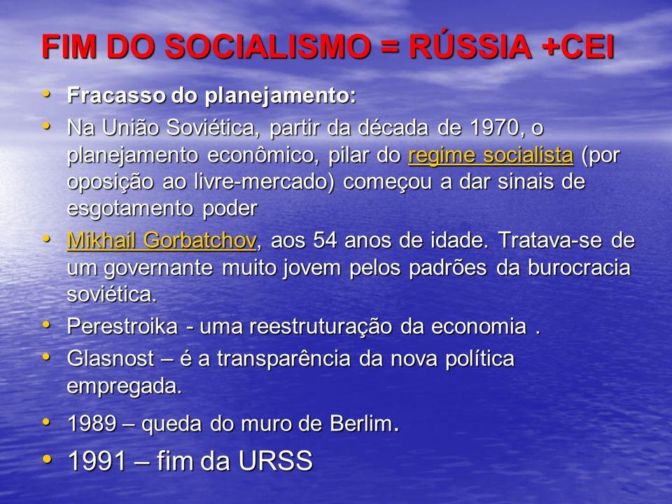 FIM DO SOCIALISMO = RÚSSIA +CEI Fracasso do planejamento: Fracasso do planejamento: Na União Soviética, partir da década de 1970, o planejamento econô