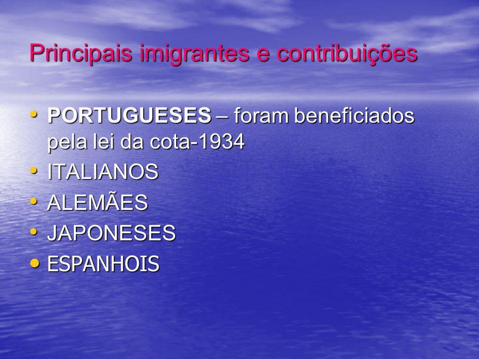 Principais imigrantes e contribuições PORTUGUESES – foram beneficiados pela lei da cota-1934 PORTUGUESES – foram beneficiados pela lei da cota-1934 IT