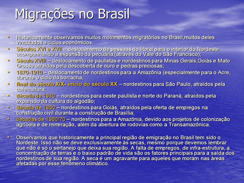 Migrações no Brasil Historicamente observamos muitos movimentos migratórios no Brasil,muitos deles vinculados a ciclos econômicos. Historicamente obse