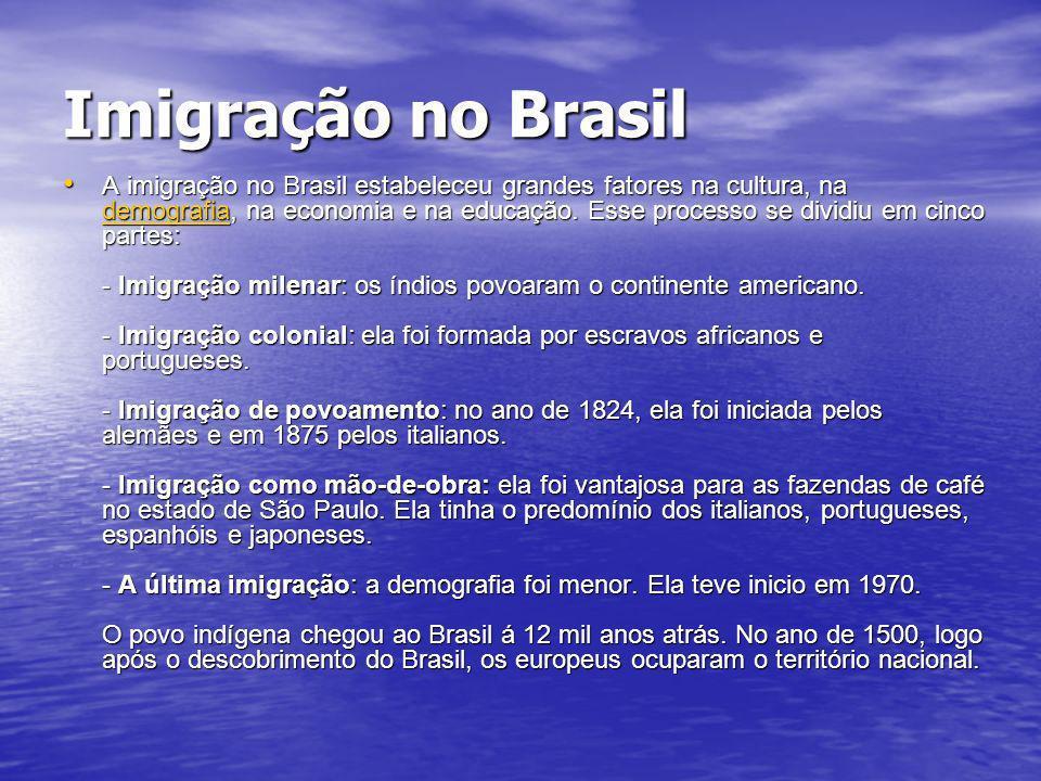 Imigração no Brasil A imigração no Brasil estabeleceu grandes fatores na cultura, na demografia, na economia e na educação. Esse processo se dividiu e