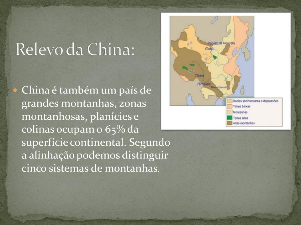 China é também um país de grandes montanhas, zonas montanhosas, planícies e colinas ocupam o 65% da superfície continental. Segundo a alinhação podemo