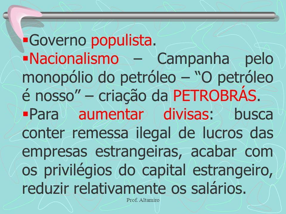 Prof. Altamiro Governo populista. Nacionalismo – Campanha pelo monopólio do petróleo – O petróleo é nosso – criação da PETROBRÁS. Para aumentar divisa