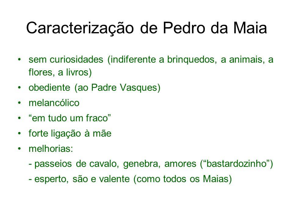 Caracterização de Pedro da Maia sem curiosidades (indiferente a brinquedos, a animais, a flores, a livros) obediente (ao Padre Vasques) melancólico em