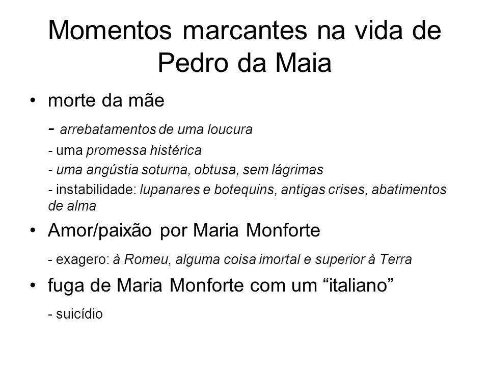 Momentos marcantes na vida de Pedro da Maia morte da mãe - arrebatamentos de uma loucura - uma promessa histérica - uma angústia soturna, obtusa, sem