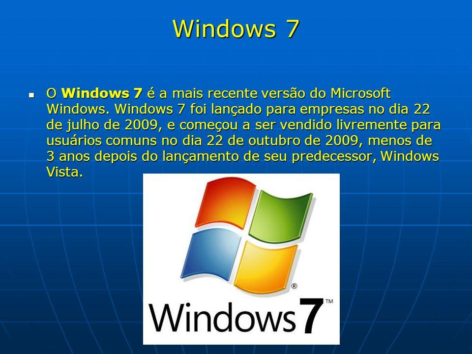 Windows 7 O Windows 7 é a mais recente versão do Microsoft Windows. Windows 7 foi lançado para empresas no dia 22 de julho de 2009, e começou a ser ve