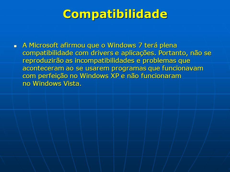 Compatibilidade A Microsoft afirmou que o Windows 7 terá plena compatibilidade com drivers e aplicações. Portanto, não se reproduzirão as incompatibil