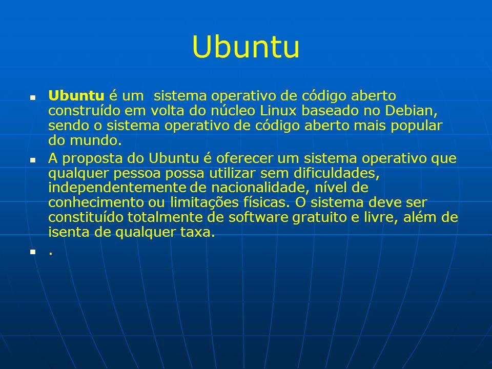 Ubuntu Ubuntu é um sistema operativo de código aberto construído em volta do núcleo Linux baseado no Debian, sendo o sistema operativo de código abert