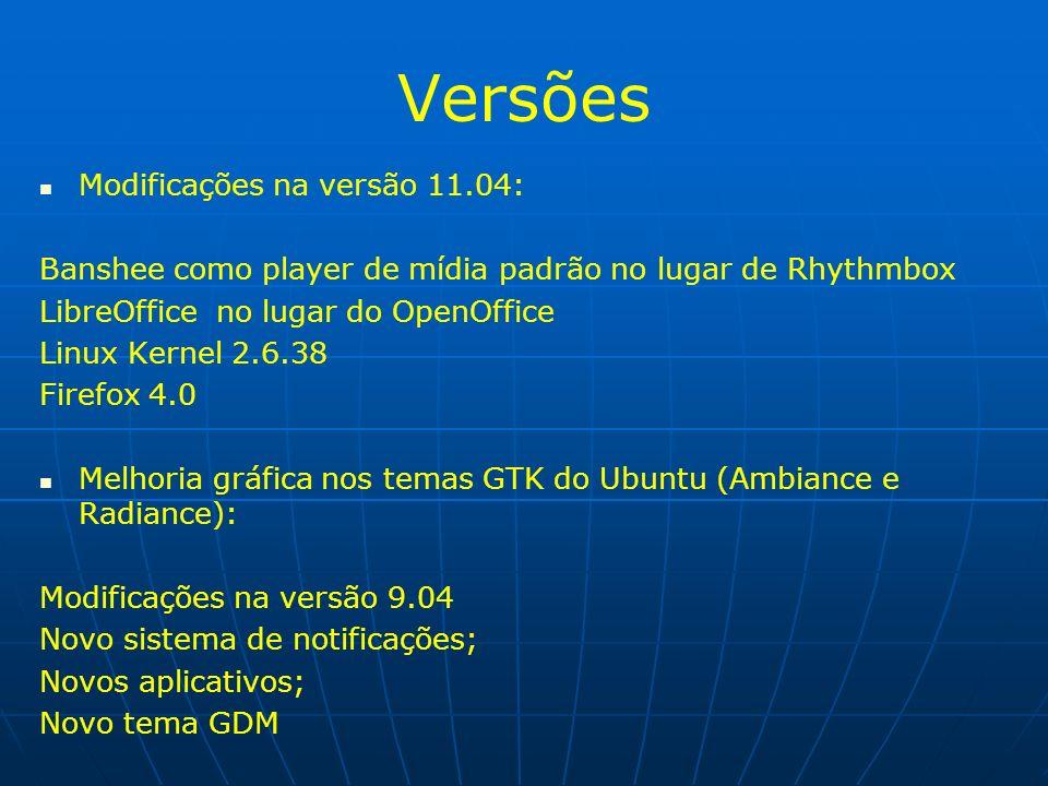 Versões Modificações na versão 11.04: Banshee como player de mídia padrão no lugar de Rhythmbox LibreOffice no lugar do OpenOffice Linux Kernel 2.6.38