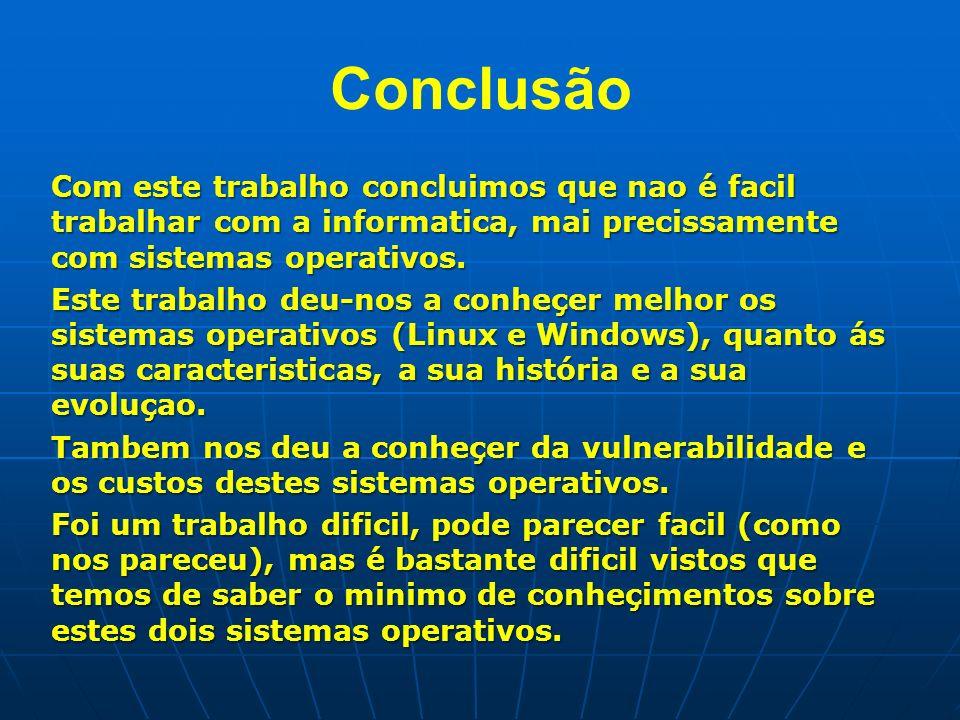 Conclusão Com este trabalho concluimos que nao é facil trabalhar com a informatica, mai precissamente com sistemas operativos. Este trabalho deu-nos a