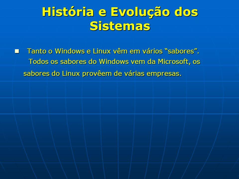 História e Evolução dos Sistemas Tanto o Windows e Linux vêm em vários sabores. Tanto o Windows e Linux vêm em vários sabores. Todos os sabores do Win