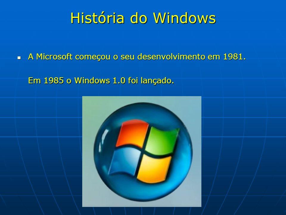 História do Windows A Microsoft começou o seu desenvolvimento em 1981. Em 1985 o Windows 1.0 foi lançado. A Microsoft começou o seu desenvolvimento em