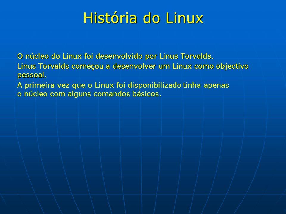 História do Linux O núcleo do Linux foi desenvolvido por Linus Torvalds. Linus Torvalds começou a desenvolver um Linux como objectivo pessoal. Linus T