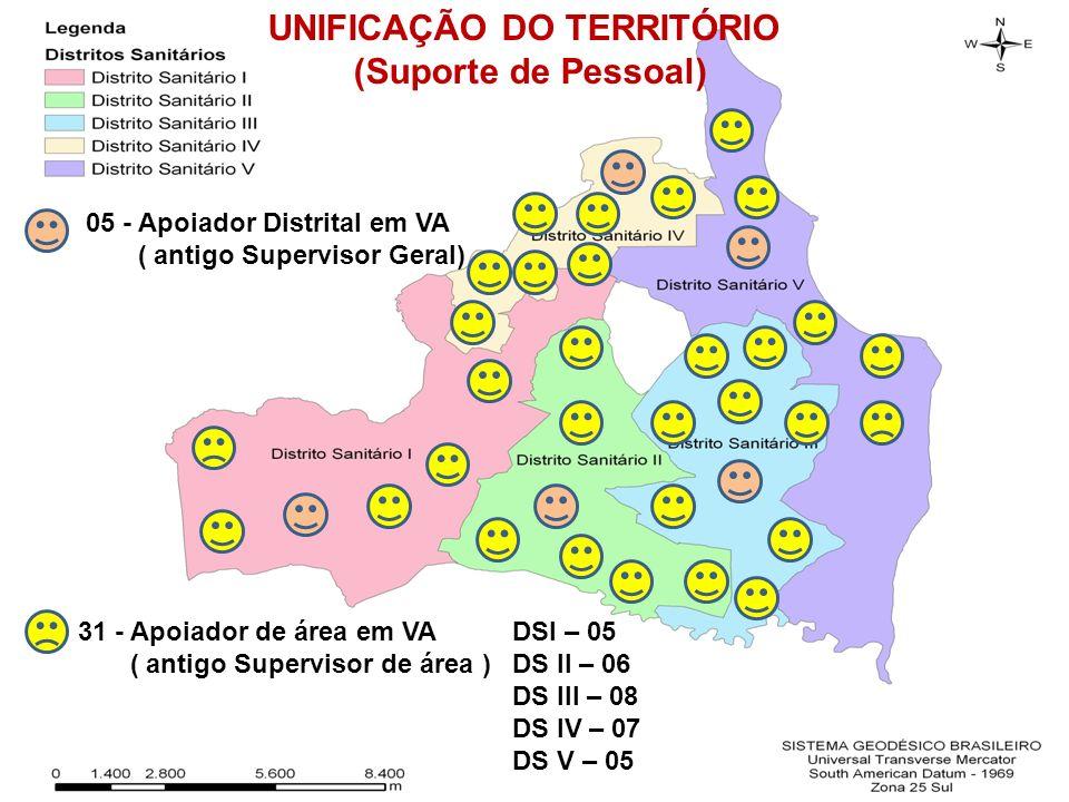 05 - Apoiador Distrital em VA ( antigo Supervisor Geral) 31 - Apoiador de área em VA ( antigo Supervisor de área ) DSI – 05 DS II – 06 DS III – 08 DS