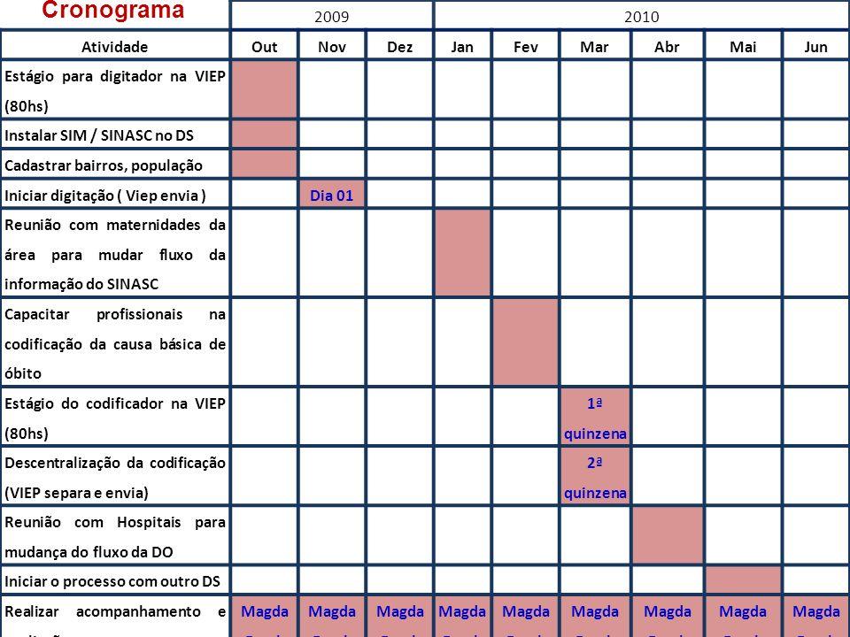 20092010 AtividadeOutNovDezJanFevMarAbrMaiJun Estágio para digitador na VIEP (80hs) Instalar SIM / SINASC no DS Cadastrar bairros, população Iniciar d