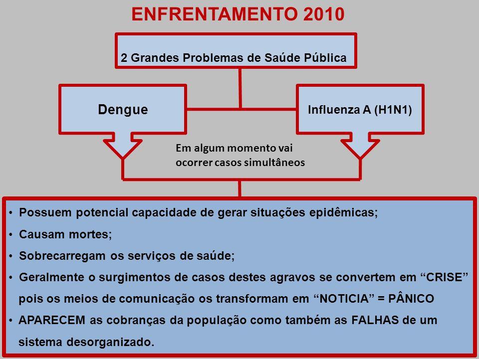 ENFRENTAMENTO 2010 2 Grandes Problemas de Saúde Pública Dengue Influenza A (H1N1) Possuem potencial capacidade de gerar situações epidêmicas; Causam m