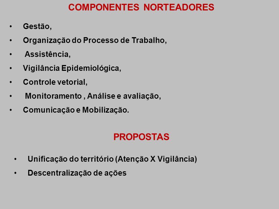 COMPONENTES NORTEADORES Gestão, Organização do Processo de Trabalho, Assistência, Vigilância Epidemiológica, Controle vetorial, Monitoramento, Análise