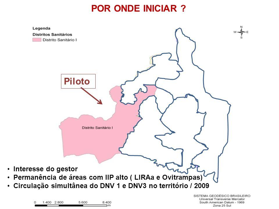Piloto Interesse do gestor Permanência de áreas com IIP alto ( LIRAa e Ovitrampas) Circulação simultânea do DNV 1 e DNV3 no território / 2009 POR ONDE