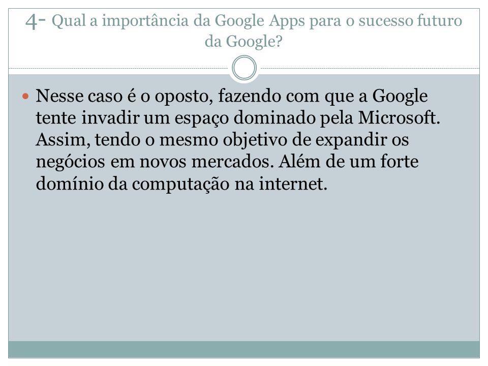 4- Qual a importância da Google Apps para o sucesso futuro da Google? Nesse caso é o oposto, fazendo com que a Google tente invadir um espaço dominado