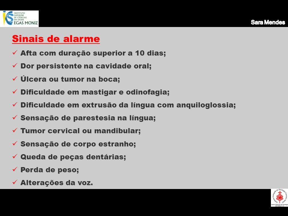 Sinais de alarme Afta com duração superior a 10 dias; Afta com duração superior a 10 dias; Dor persistente na cavidade oral; Dor persistente na cavida