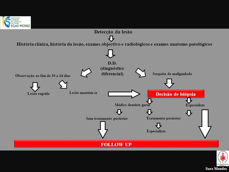 Sara Mendes Detecção da lesão História clínica, história da lesão, exames objectivo e radiológicos e exames anatomo-patológicos D.D. (diagnóstico dife