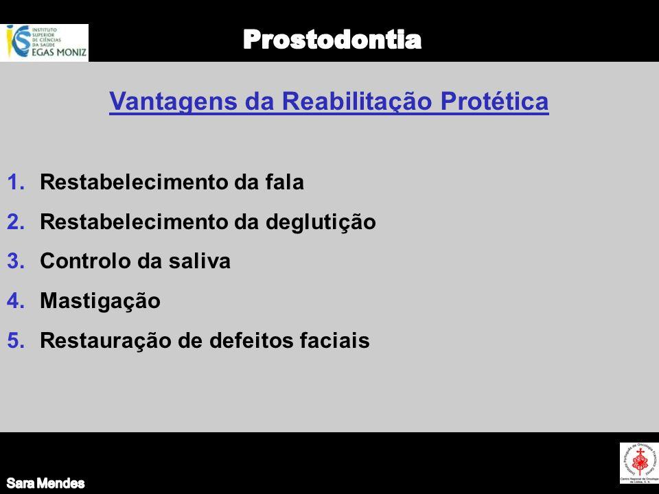 1.Restabelecimento da fala 2.Restabelecimento da deglutição 3.Controlo da saliva 4.Mastigação 5.Restauração de defeitos faciais Vantagens da Reabilita