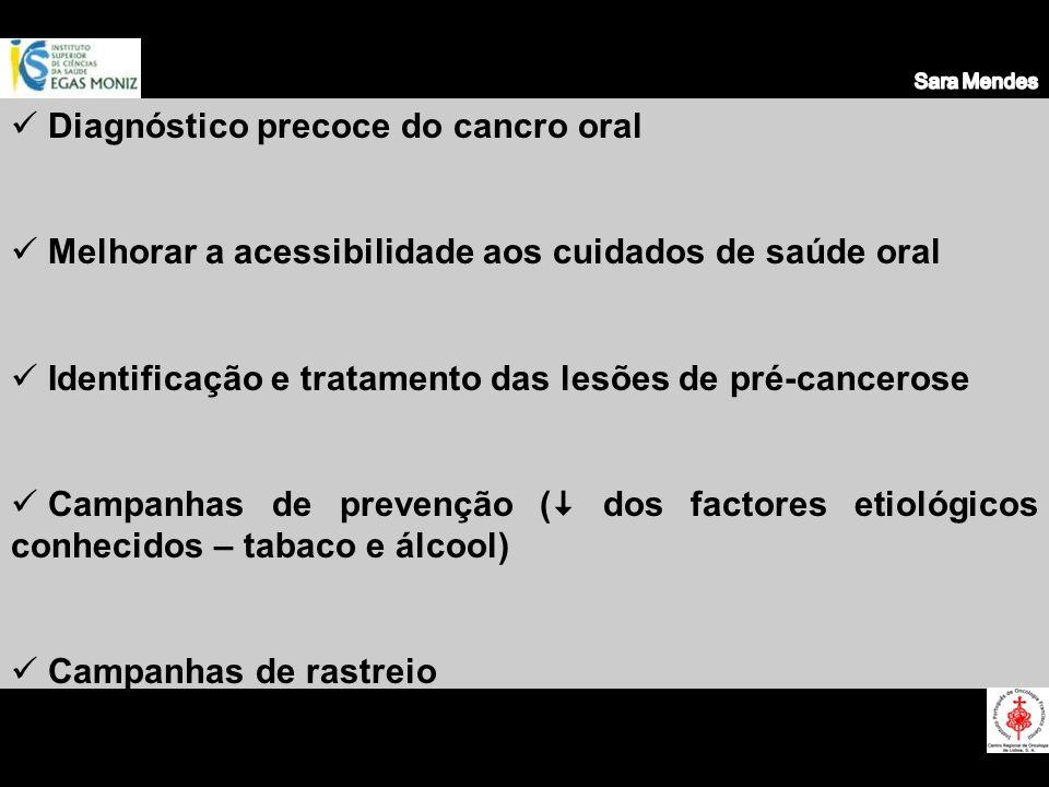Prevenção primária Prevenção primária eliminação de factores de risco Prevenção secundária Prevenção secundária detecção e tratamento precoce das lesões e estados pré-cancerosos Prevenção terciária Prevenção terciária melhorar a qualidade de vida do paciente após diagnosticado o cancro oral