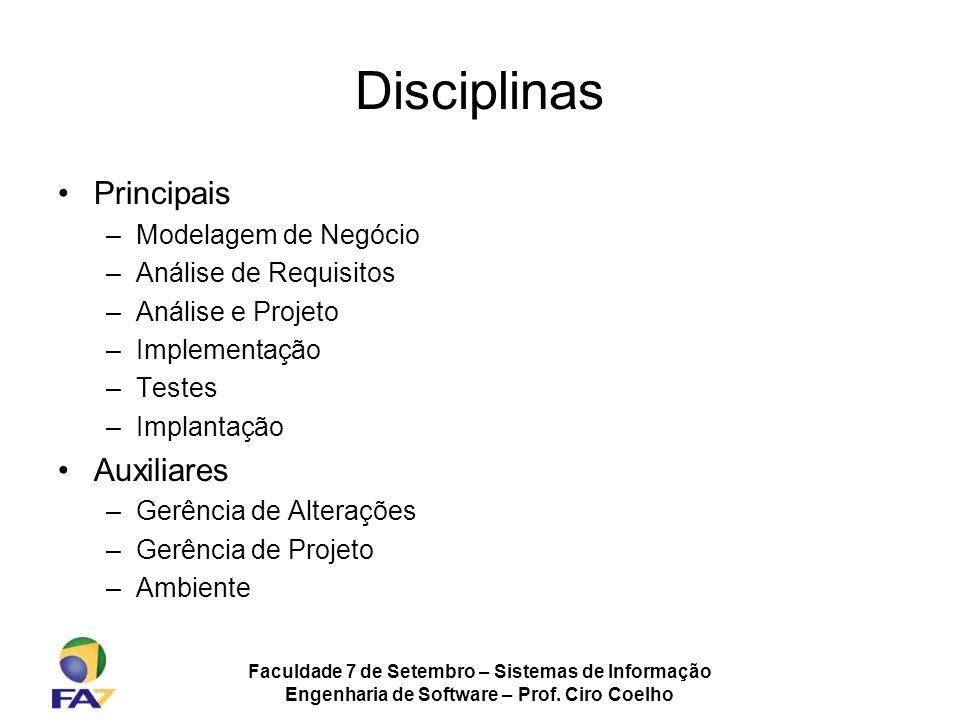 Faculdade 7 de Setembro – Sistemas de Informação Engenharia de Software – Prof. Ciro Coelho Disciplinas Principais –Modelagem de Negócio –Análise de R