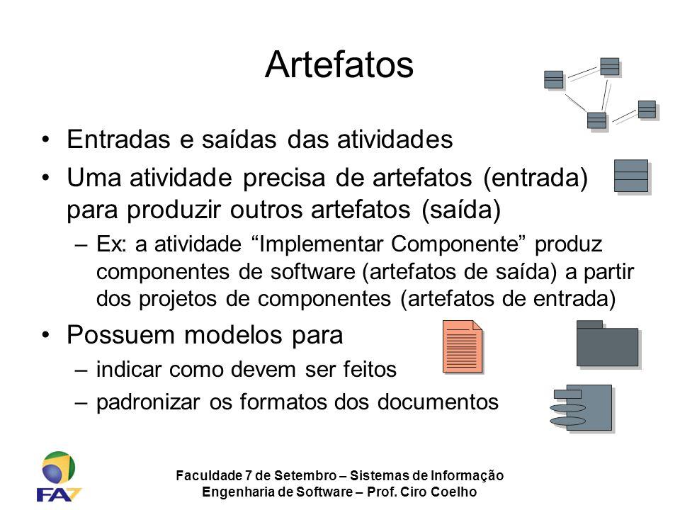 Faculdade 7 de Setembro – Sistemas de Informação Engenharia de Software – Prof. Ciro Coelho Artefatos Entradas e saídas das atividades Uma atividade p