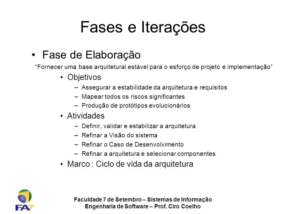 Faculdade 7 de Setembro – Sistemas de Informação Engenharia de Software – Prof. Ciro Coelho Fases e Iterações Fase de Elaboração Fornecer uma base arq