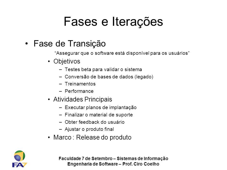 Faculdade 7 de Setembro – Sistemas de Informação Engenharia de Software – Prof. Ciro Coelho Fases e Iterações Fase de Transição Assegurar que o softwa