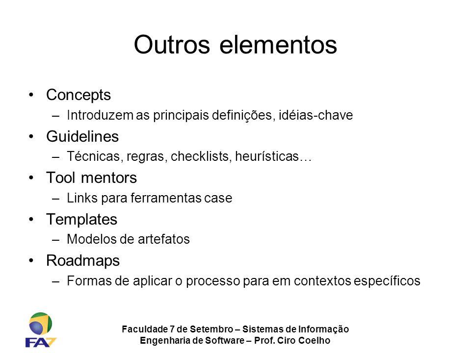 Faculdade 7 de Setembro – Sistemas de Informação Engenharia de Software – Prof. Ciro Coelho Outros elementos Concepts –Introduzem as principais defini