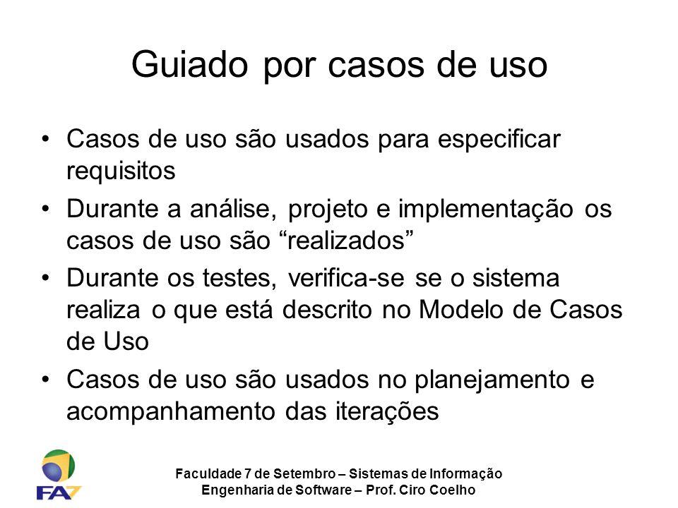 Faculdade 7 de Setembro – Sistemas de Informação Engenharia de Software – Prof. Ciro Coelho Guiado por casos de uso Casos de uso são usados para espec