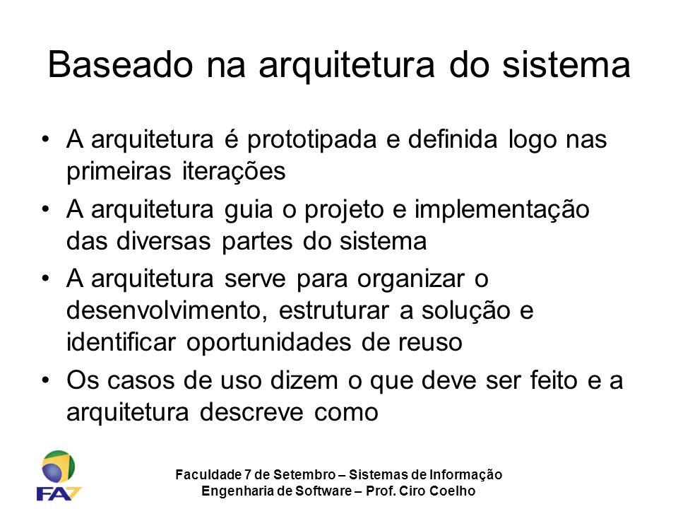 Faculdade 7 de Setembro – Sistemas de Informação Engenharia de Software – Prof. Ciro Coelho Baseado na arquitetura do sistema A arquitetura é prototip