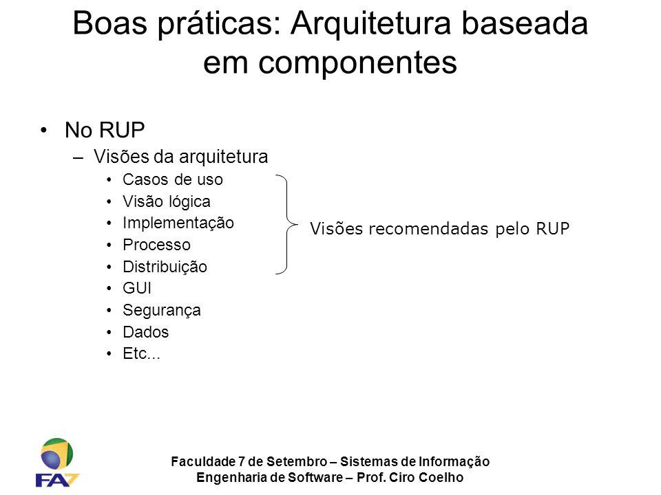 Faculdade 7 de Setembro – Sistemas de Informação Engenharia de Software – Prof. Ciro Coelho Boas práticas: Arquitetura baseada em componentes No RUP –