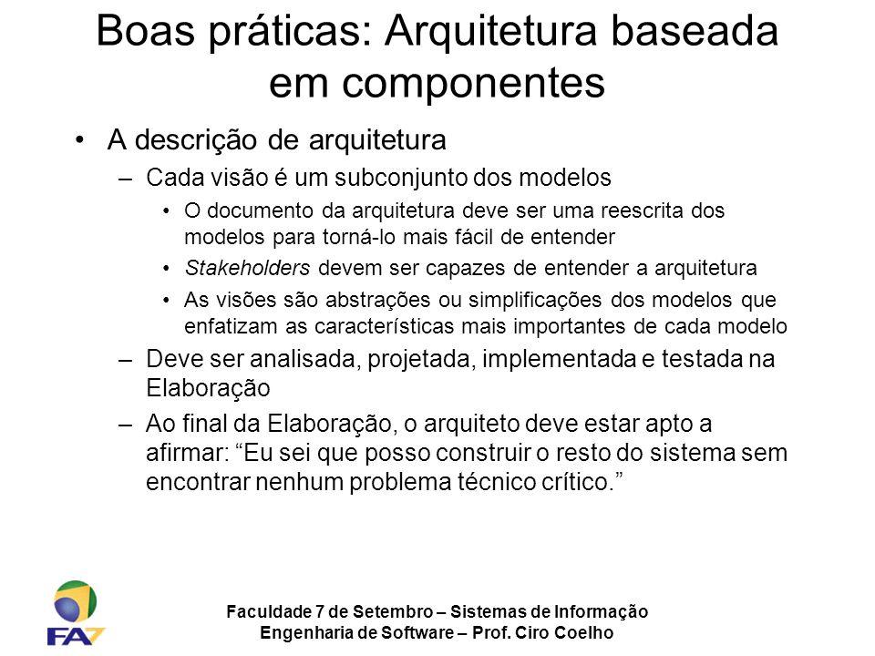 Faculdade 7 de Setembro – Sistemas de Informação Engenharia de Software – Prof. Ciro Coelho Boas práticas: Arquitetura baseada em componentes A descri