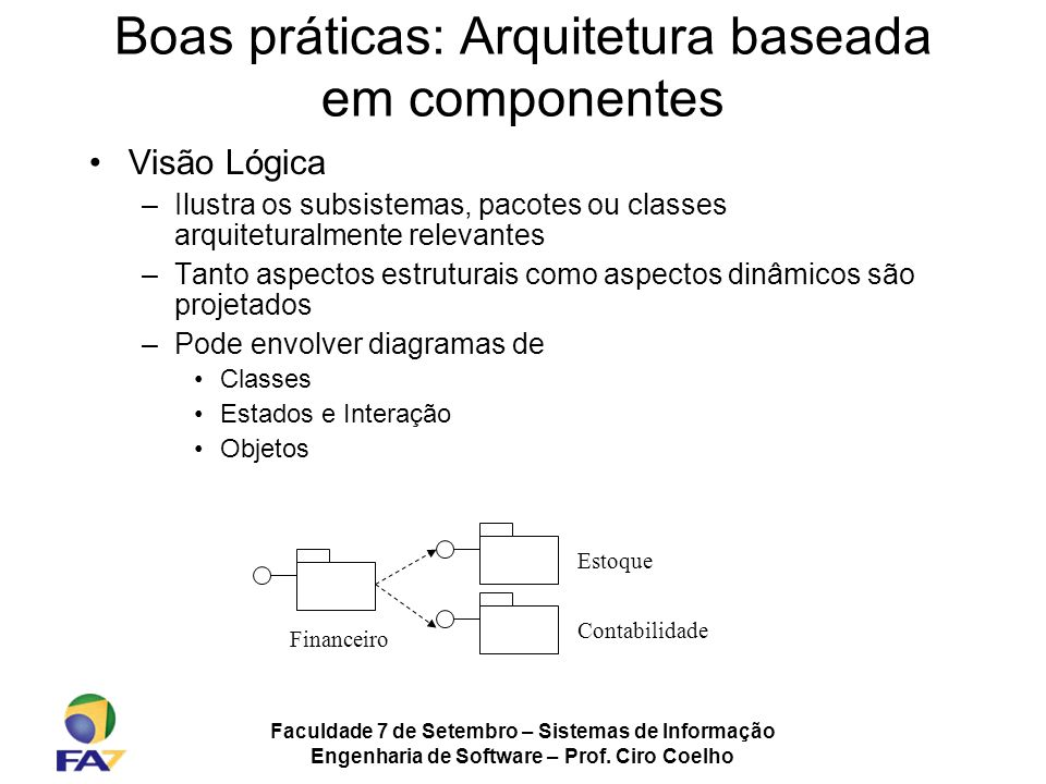 Faculdade 7 de Setembro – Sistemas de Informação Engenharia de Software – Prof. Ciro Coelho Boas práticas: Arquitetura baseada em componentes Visão Ló