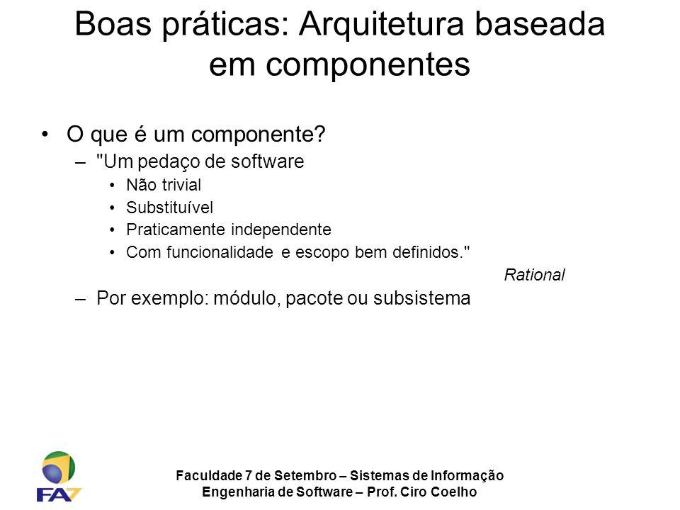 Faculdade 7 de Setembro – Sistemas de Informação Engenharia de Software – Prof. Ciro Coelho Boas práticas: Arquitetura baseada em componentes O que é
