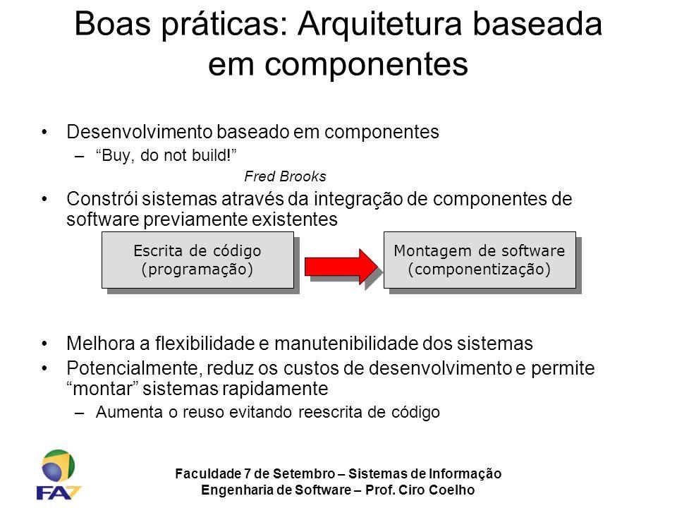 Faculdade 7 de Setembro – Sistemas de Informação Engenharia de Software – Prof. Ciro Coelho Boas práticas: Arquitetura baseada em componentes Desenvol
