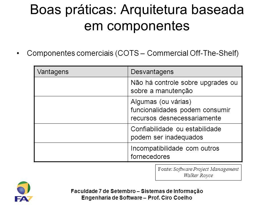 Faculdade 7 de Setembro – Sistemas de Informação Engenharia de Software – Prof. Ciro Coelho Boas práticas: Arquitetura baseada em componentes Componen