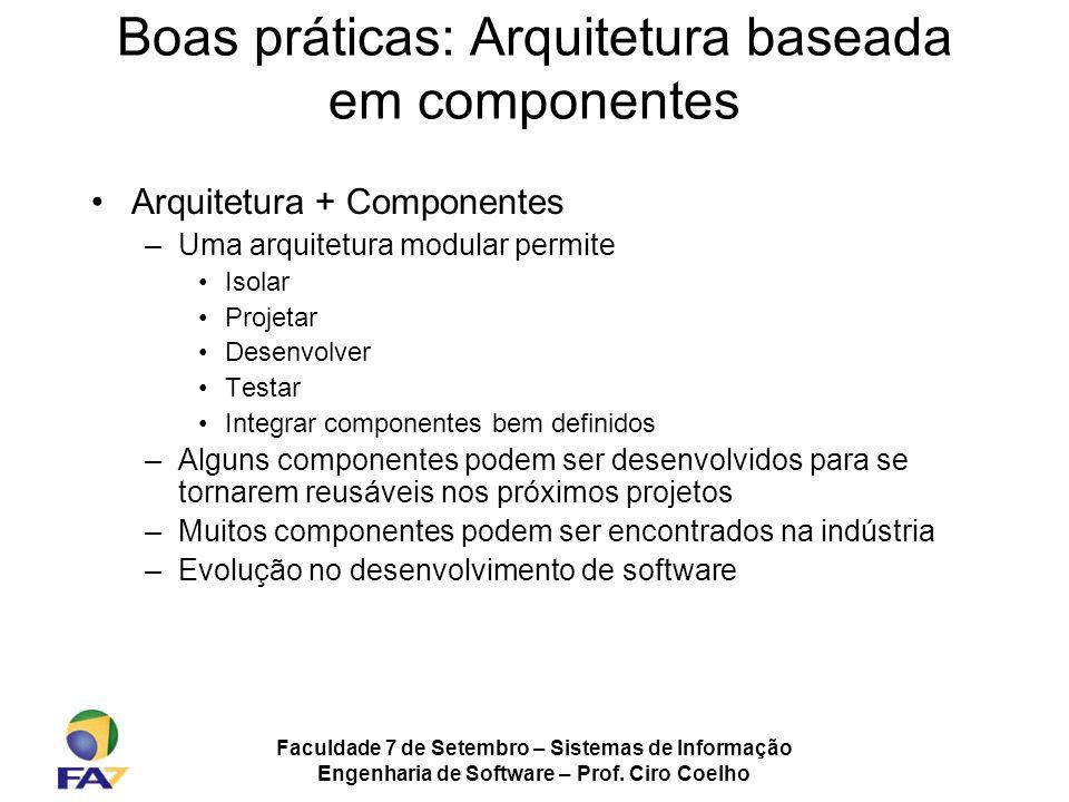 Faculdade 7 de Setembro – Sistemas de Informação Engenharia de Software – Prof. Ciro Coelho Boas práticas: Arquitetura baseada em componentes Arquitet