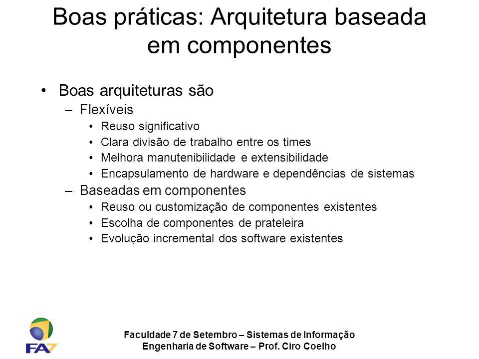 Faculdade 7 de Setembro – Sistemas de Informação Engenharia de Software – Prof. Ciro Coelho Boas práticas: Arquitetura baseada em componentes Boas arq